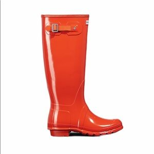 Hunter Tall Glossy Orange Rain Boots
